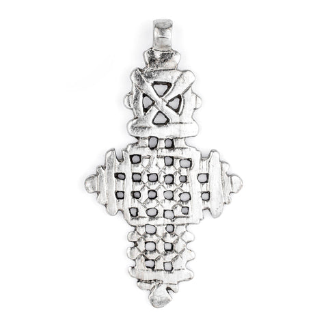 Image of Silver Ethiopian Coptic Cross (88x48mm) - The Bead Chest