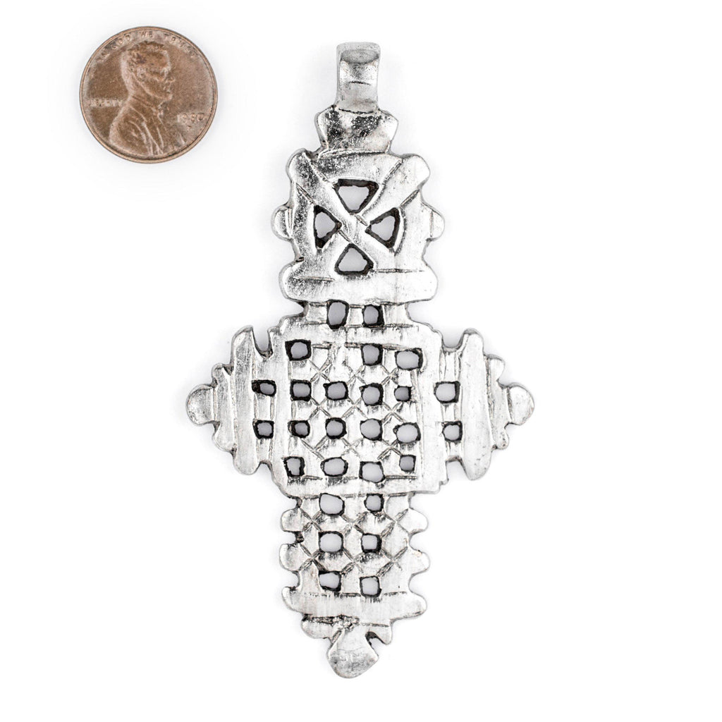 Silver Ethiopian Coptic Cross (88x48mm) - The Bead Chest