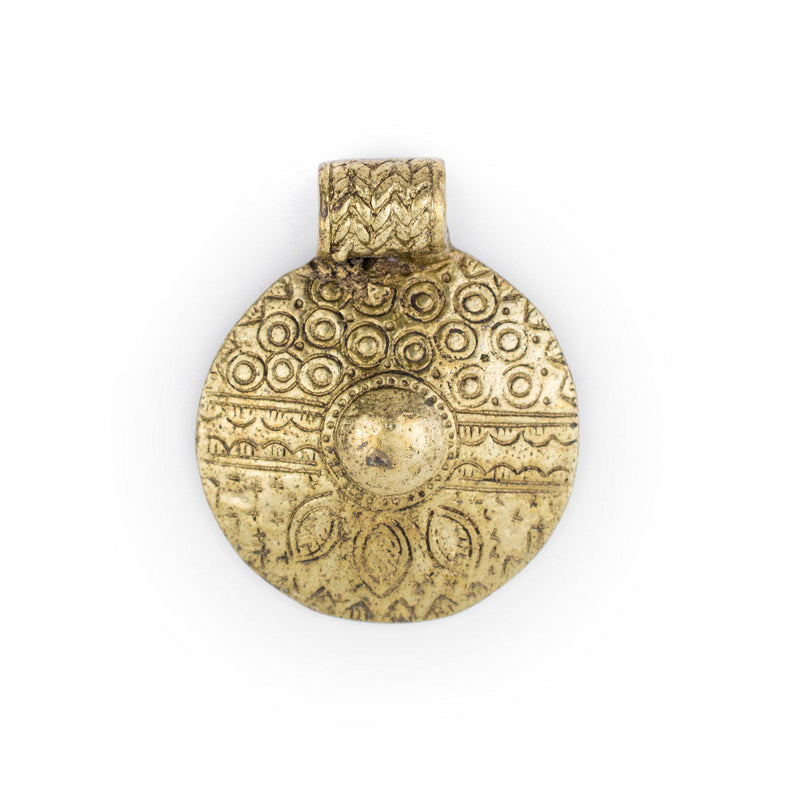 Brass Tribal Shield Pendant (55x45mm) - The Bead Chest