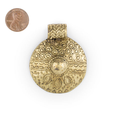 Image of Brass Tribal Shield Pendant (55x45mm) - The Bead Chest