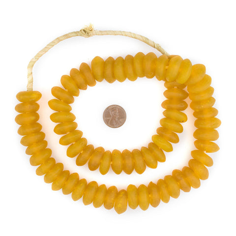 Jumbo Light Orange Rondelle Recycled Glass Beads - The Bead Chest