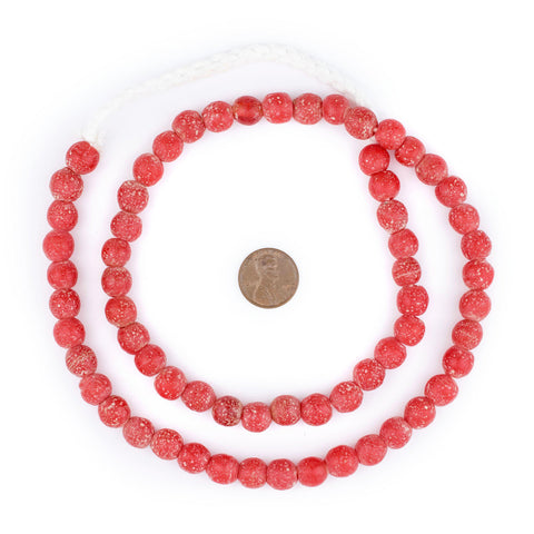 Image of Red Ancient Style Java Glass Beads (9mm) - The Bead Chest