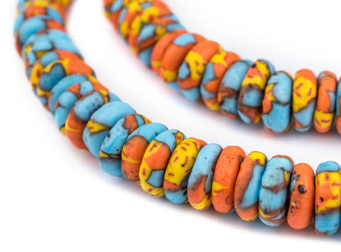 Sun and Sea Fused Rondelle Beads (11mm) - The Bead Chest