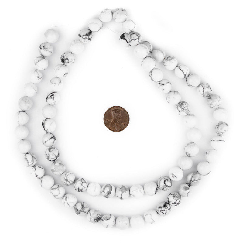 White Round Howlite Beads (10mm) - The Bead Chest