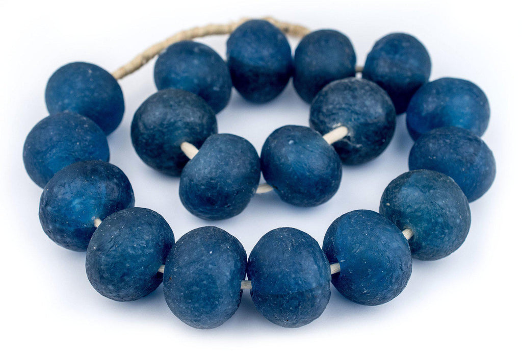 Super Jumbo Light Blue Recycled Glass Beads (32mm) - The Bead Chest