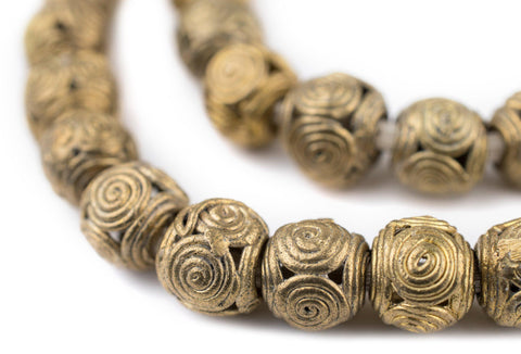 Cameroon-Style Brass Filigree Globe Beads (12mm) - The Bead Chest