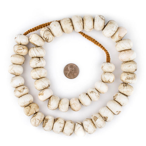 Vintage Round Naga Shell Beads (12x18mm) - The Bead Chest
