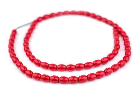 Red Bohemian Glass Oval Beads (9x7mm) - The Bead Chest