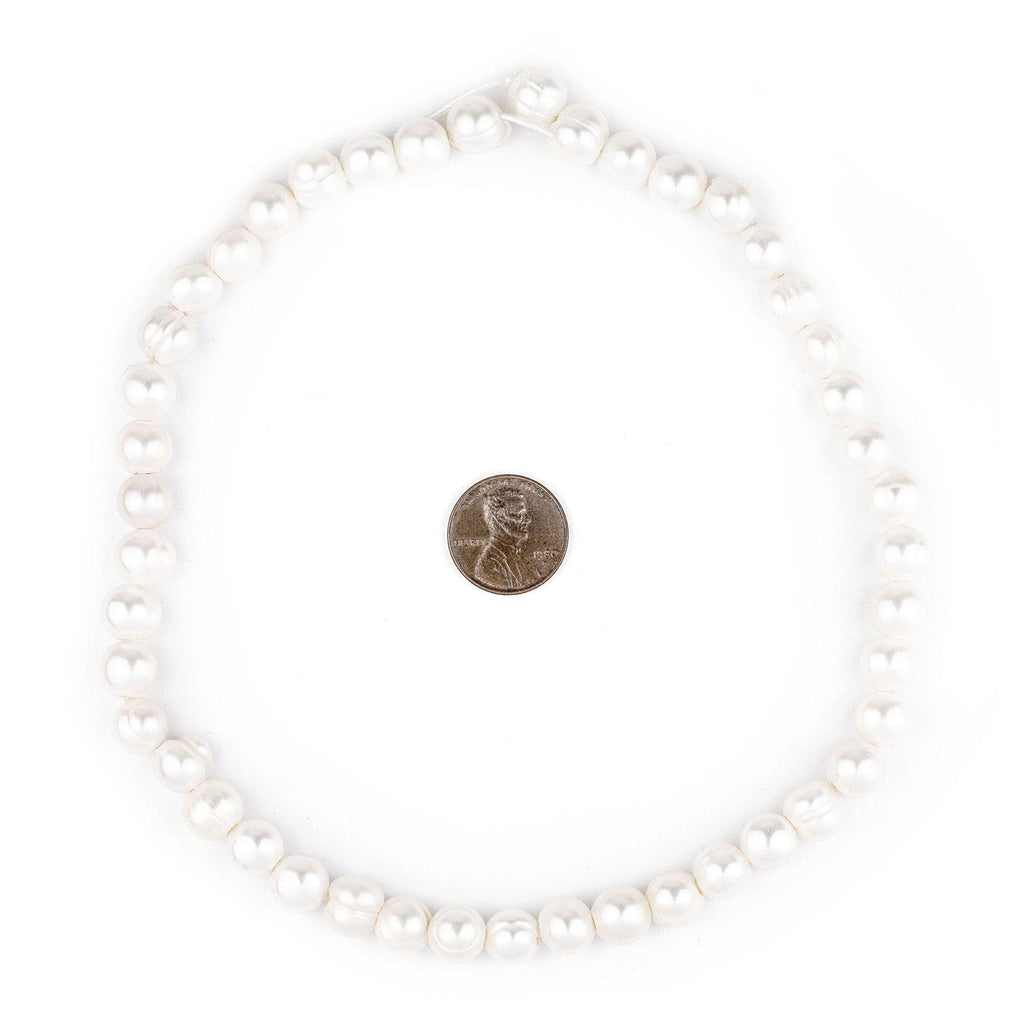 Round Cultured Pearl Beads (9mm, Large Hole) - The Bead Chest