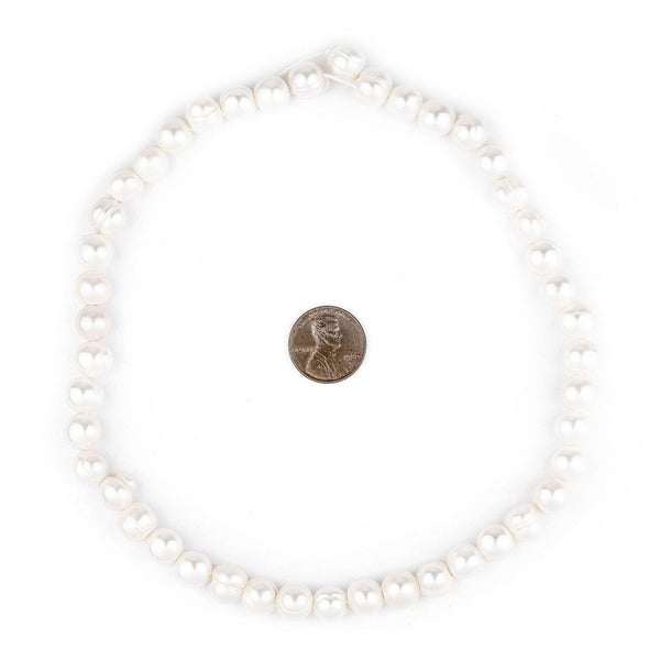 Round Cultured Pearl Beads (9mm, Large Hole)