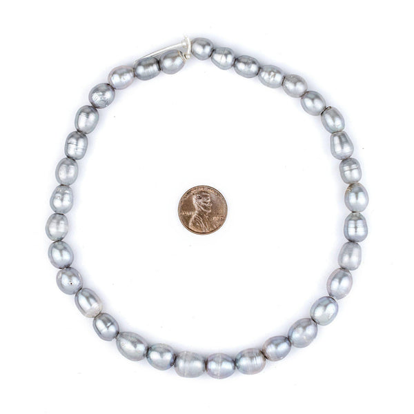 Silver Oval Cultured Pearl Beads (11x9mm, Large Hole)