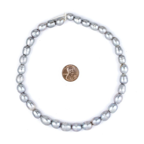 Silver Oval Cultured Pearl Beads (11x9mm, Large Hole) - The Bead Chest
