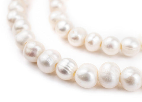 Round Cultured Pearl Beads (8mm, Large Hole) - The Bead Chest
