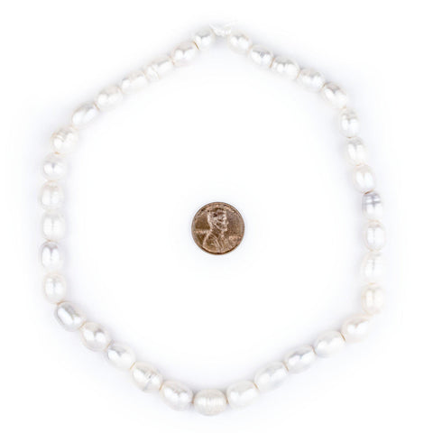 Oval Cultured Pearl Beads (11x9mm, Large Hole) - The Bead Chest
