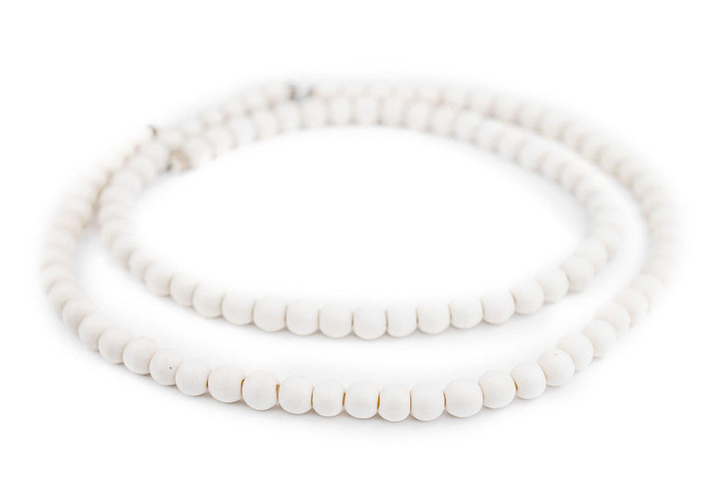 White Natural Wood Beads (8mm) - The Bead Chest