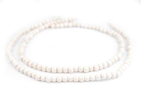 White Natural Wood Beads (6mm) - The Bead Chest