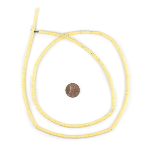Image of Pastel Yellow Vinyl Phono Record Beads (4mm) - The Bead Chest