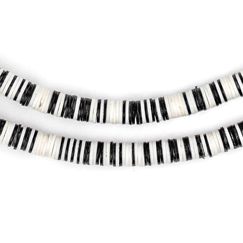 Black & White Vinyl Phono Record Beads (6mm) - The Bead Chest