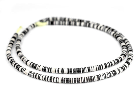 Image of Black & White Vinyl Phono Record Beads (6mm) - The Bead Chest
