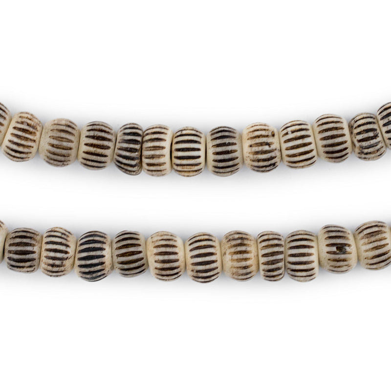 Beige Carved Chevron Bone Prayer Beads (8mm) - The Bead Chest