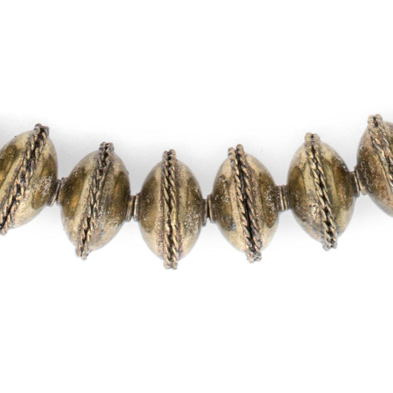 Ethiopian Bezeled Brass Saucer Beads (18mm) - The Bead Chest