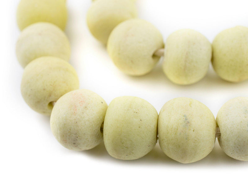 Jumbo Pastel Yellow Opaque Recycled Glass Beads (23mm) - The Bead Chest