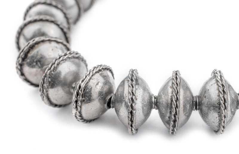 Ethiopian Bezeled Silver Saucer Beads (18mm) - The Bead Chest