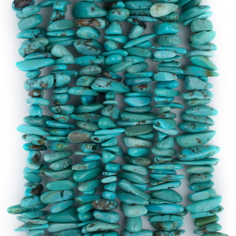 Bright Blue Turquoise Chip Beads (3x10mm) - The Bead Chest
