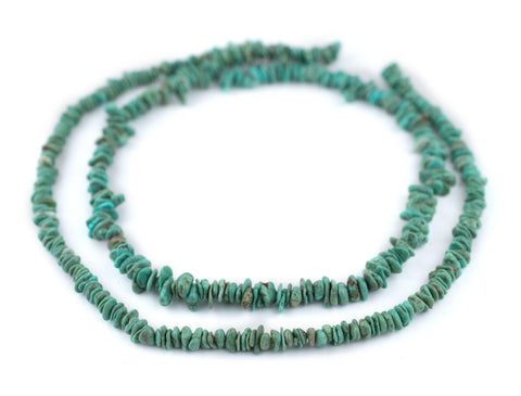 Thin Green Turquoise Stone Chip Beads (5-10) - The Bead Chest