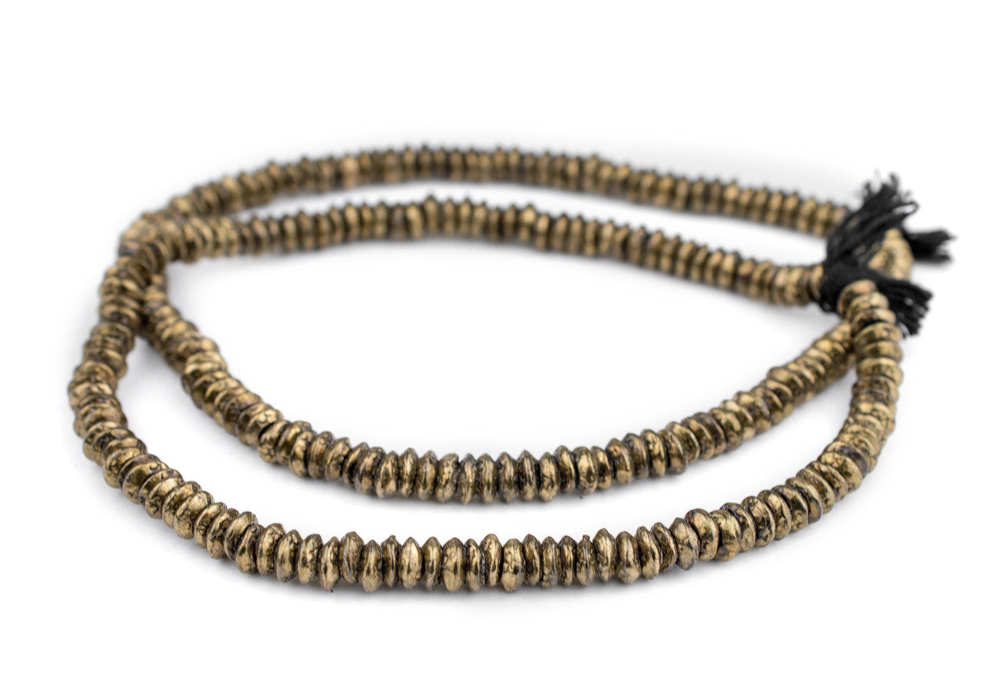Brass Tribal Rings 9mm Ethiopia African Large Hole 16 Inch Strand Handmade