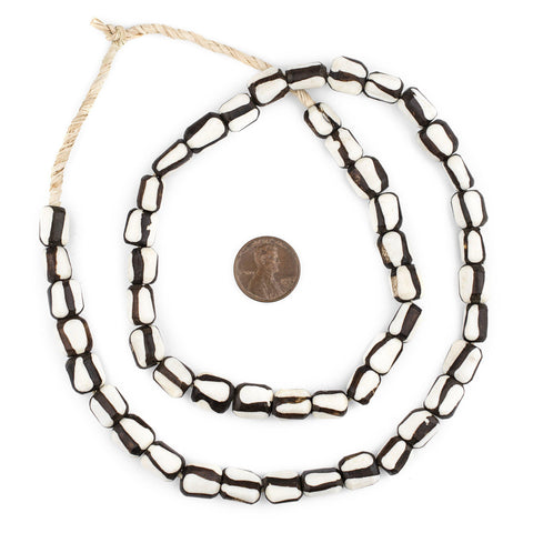 Zebra Design Batik Bone Beads (Small) - The Bead Chest
