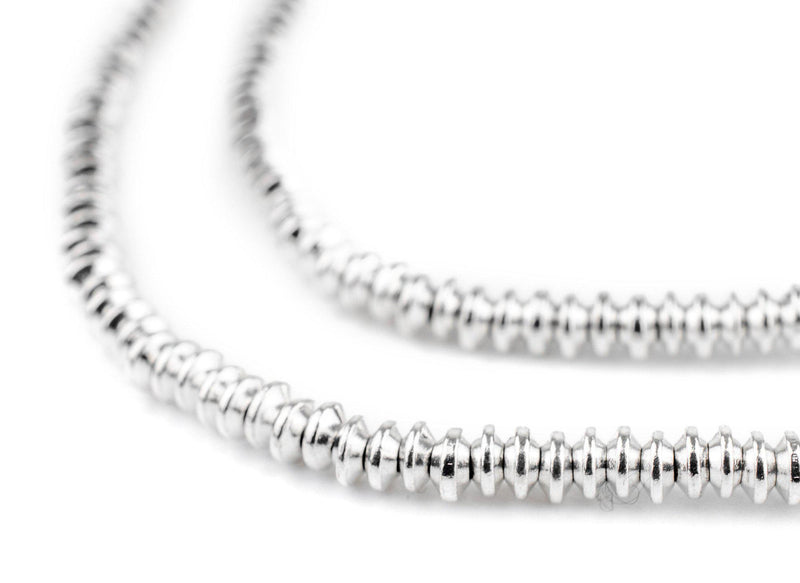 Shiny Silver Saucer Beads (4mm) - The Bead Chest