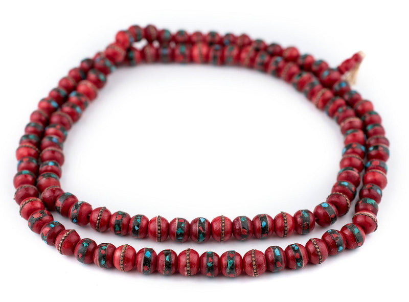 Red Inlaid Yak Bone Mala Beads (10mm)