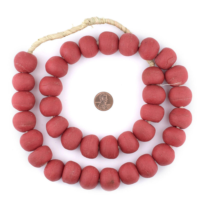 Jumbo Red Opaque Recycled Glass Beads (23mm) - The Bead Chest
