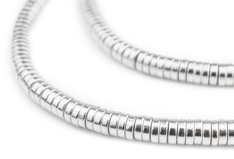 Shiny Silver Snake Disk Beads (6mm) - The Bead Chest