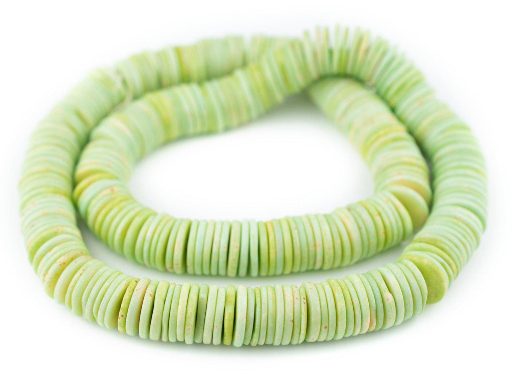 Jade Green Bone Button Beads (14mm)