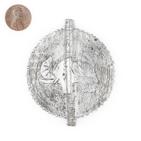 Elephant Silver Sun Baule Bead Pendant (75x65mm) - The Bead Chest