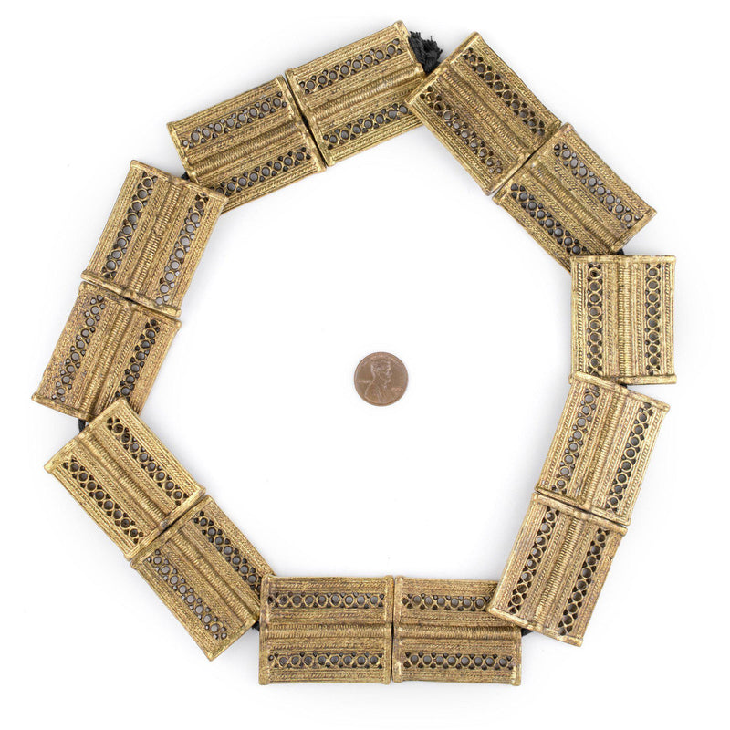Brass Lattice Rectangular Baule Beads (45x36mm) - The Bead Chest