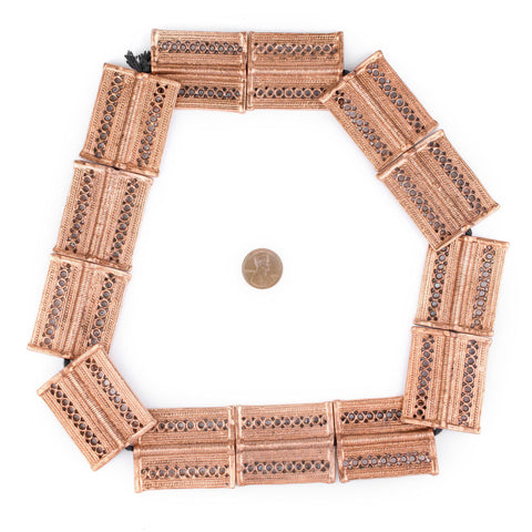 Image of Copper Lattice Rectangular Baule Beads (45x36mm) - The Bead Chest