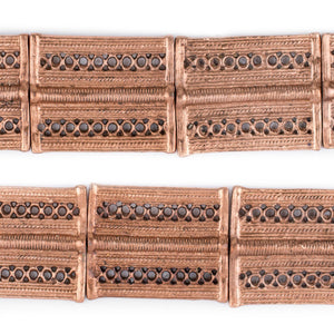 Copper Lattice Rectangular Baule Beads (45x36mm) - The Bead Chest
