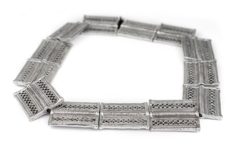 Silver Lattice Rectangular Baule Beads (45x36mm) - The Bead Chest