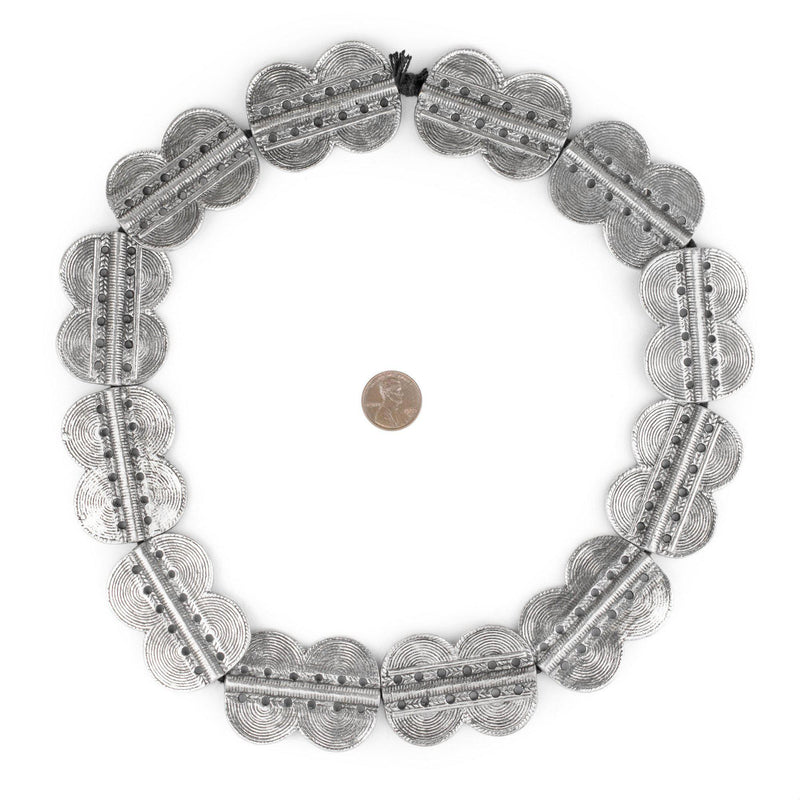 Silver Double Sun Dotted Baule Beads (49x36mm) - The Bead Chest