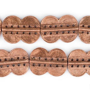 Copper Double Sun Dotted Baule Beads (49x36mm) - The Bead Chest