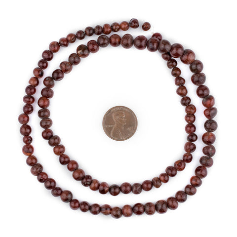 Dark Round Mali Carnelian Beads - The Bead Chest