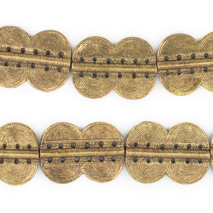 Brass Double Sun Dotted Baule Beads (49x36mm) - The Bead Chest