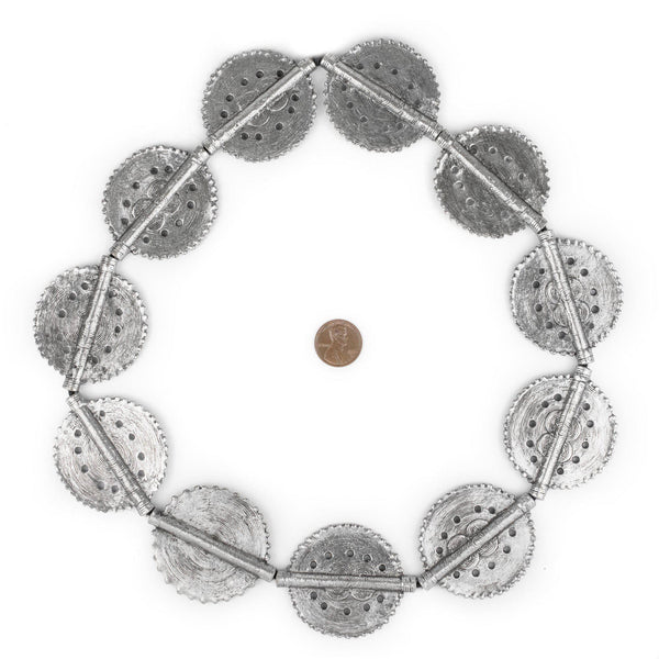 Silver Sun Dotted Baule Beads (55x45mm)