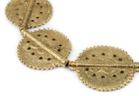 Brass Sun Dotted Baule Beads (55x45mm) - The Bead Chest