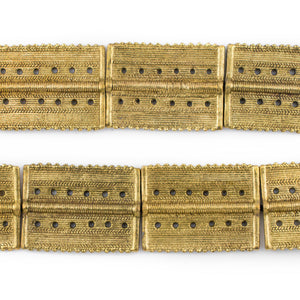 Brass Rectangular Dotted Baule Beads (54x41mm) - The Bead Chest