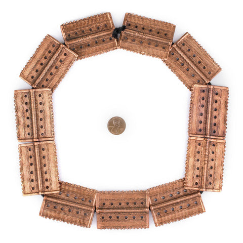 Image of Copper Rectangular Dotted Baule Beads (54x41mm) - The Bead Chest