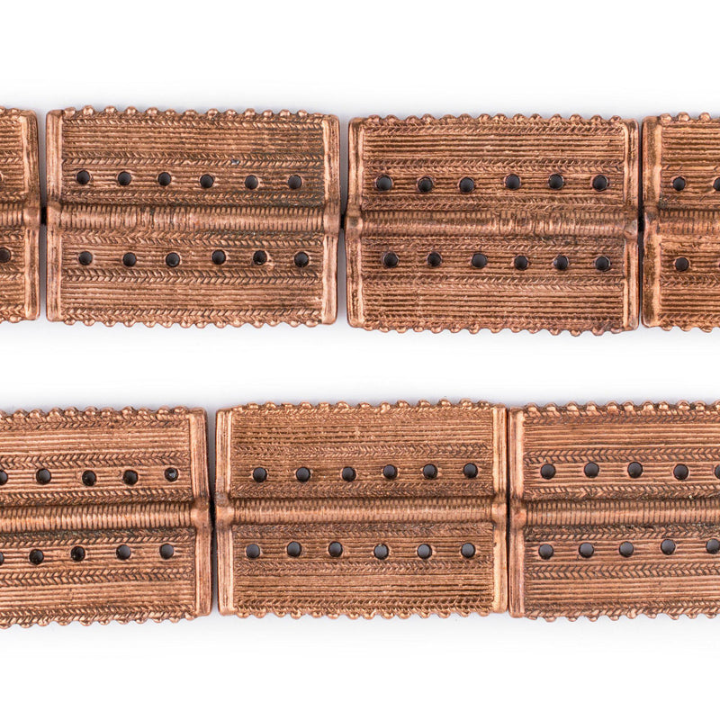 Copper Rectangular Dotted Baule Beads (54x41mm) - The Bead Chest